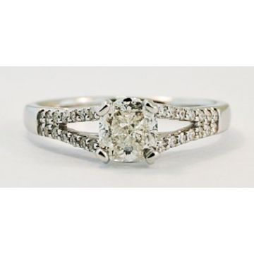Nelson Lady's White 18 Karat Split Shank Engagement Ring