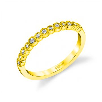 Coast Diamond Lady's Yellow 14 Karat Milgrain Bezels Wedding/Anniversary Ring