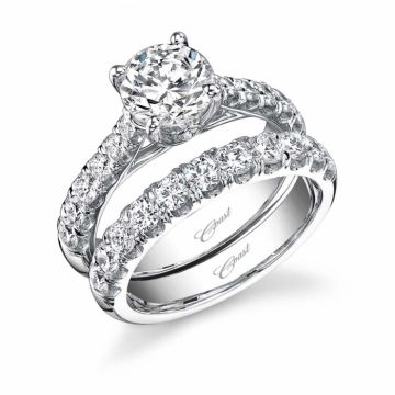Coast Cathedral Fishtail Engagement Ring Mounting with U Shaped 4 Prong Head with Accent Diamond