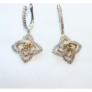 Ladies Halo Twist Leverback Dangle Diamond Earrings