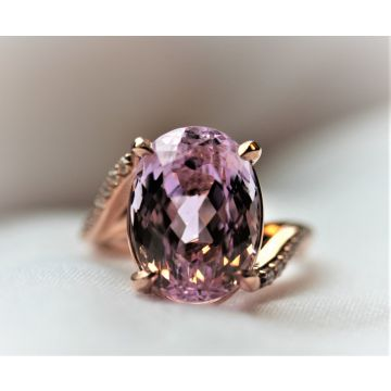 Ladies Very Fine Purplish Pink Kunzite and Diamond Bypass Ring