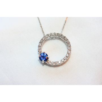 Lydia Lady's Round Blue Strong Sapphire White 18 Karat Circle Pendants Length 18