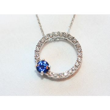 Sapphire and Diamond Circle Pendant Necklace