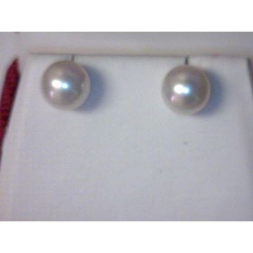 Lady's Yellow 14 Karat Stud Earrings with White Fresh Water Pearls