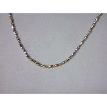 Two-Tone 14 Karat 0.9Mm Raso Chain Length 20