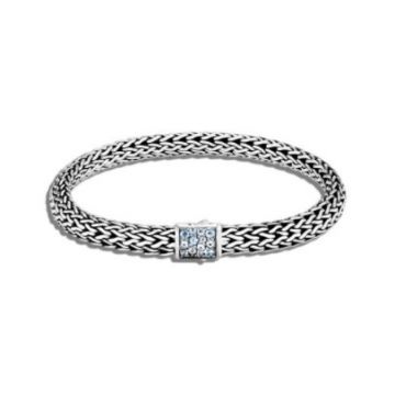 WOMEN's Classic Chain Silver Small Reversible Bracelet 6.5mm with Pusher Clasp with Black Sapphire and Swiss Blue Topaz, Size M