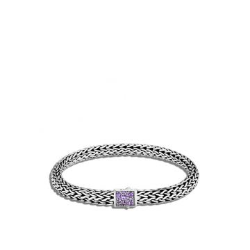 John Hardy WOMEN's Classic Chain Silver Small Reversible Bracelet 6.5mm with Pusher Clasp with Black Sapphire and Amethyst, Size M