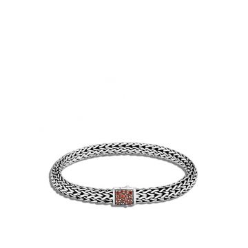 John Hardy WOMEN's Classic Chain Silver Small Reversible Bracelet 6.5mm with Pusher Clasp with Black Sapphire and Garnet, Size M