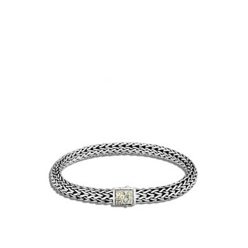 John Hardy WOMEN's Classic Chain Silver Small Reversible Bracelet 6.5mm with Pusher Clasp with Black Sapphire and Peridot, Size M