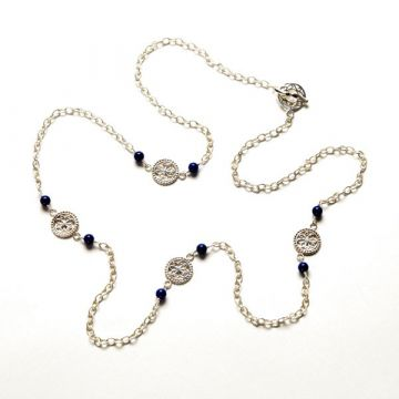 Southern Gates Lady's Sterling Silver Lapis Station Silver Necklaces Length 36