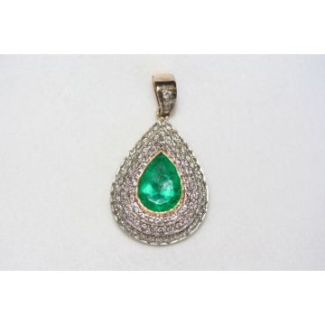 Estate 18K and Platinum Emerald Pendant