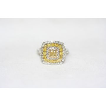 Estate Yellow and White Diamond Fashion Ring
