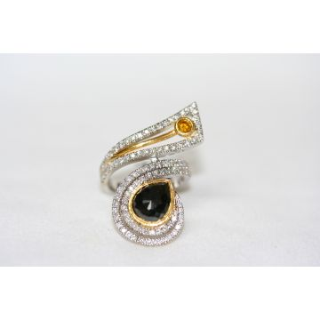 Estate Two Toned Freeform Diamond Ring