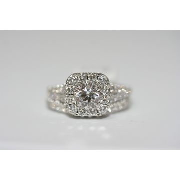 Estate Ladies Neil Lane Diamond Halo Engagement Ring and Curved Wedding Band Set