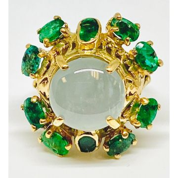Estate Moonstone and Emerald Cluster Ring