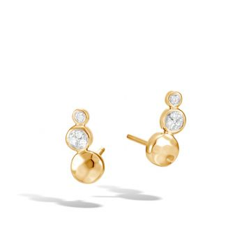 John Hardy 18k Gold Dot Women's Diamond Stud Earrings