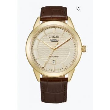 Yellow Stainlesssteel Men's Watch With Champagne Colored Dial and Brown Leather Strap