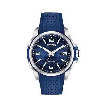 Mens Citizen Eco-Drive Blue Dial and Silicon Strap