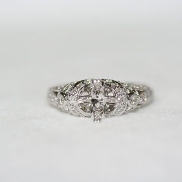 Nelson Engraved Vintage Engagement Ring