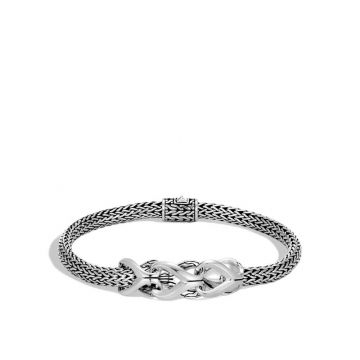 John Hardy WOMEN's Asli Classic Chain Link Silver Extra-Small Silver Bracelet 5mm with Pusher Clasp, Size M
