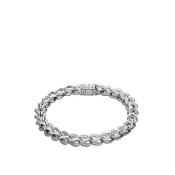John Hardy WOMEN's Asli Classic Chain Link Silver 7mm Link Bracelet with Pusher Clasp, Size M
