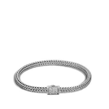 WOMEN's Classic Chain Silver Diamond Pave Extra-Small Bracelet