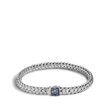 Women's Classic Chain Silver Lava Small bracelet with Blue Sapphire