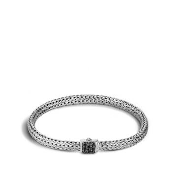 WOMEN's Classic Chain Silver Lava Extra-Small Bracelet with Black Sapphire