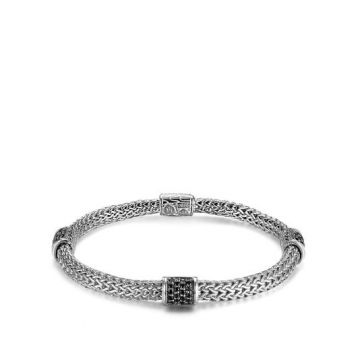 WOMEN's Classic Chain Silver Lava Four Station Chain bracelet 5mm with Black Sapphire, Size M