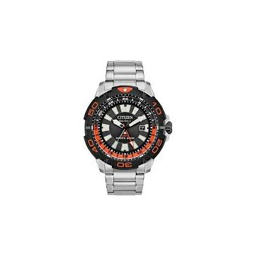 Men's Citizen Eco-Drive White Tone Diver's Watch with Black/Orange Face