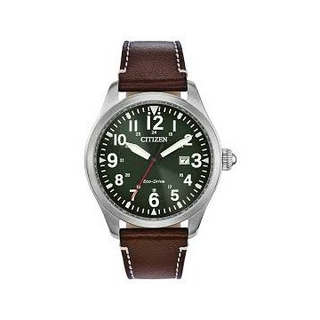 Mens Citizen Eco-Drive Green Dial with Brown Strap