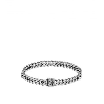 MEN's Classic Chain Silver 7mm Curb Link Bracelet with Pusher Clasp