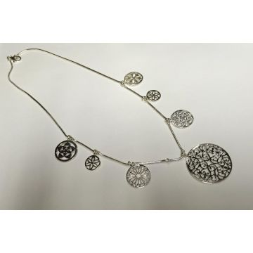 Southern Gates Lady's Sterling Silver Filigree 7 Gate Station Silver Necklaces