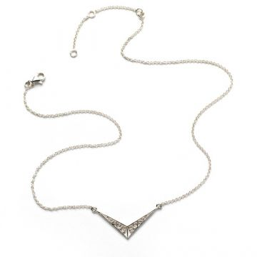 Southern Gates Lady's Sterling Silver Adjustable Chevron Gate Silver Necklaces Length 16