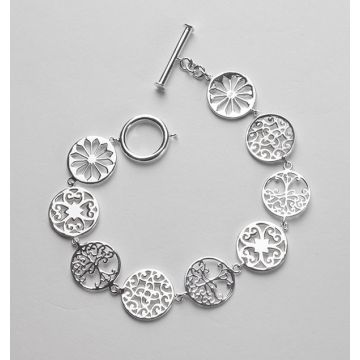 Sterling Silver Oak Tree Toggle Gates Bracelet
