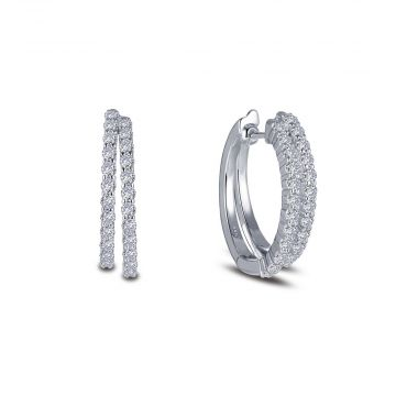 Lady's White Polished Sterling Silver Simulated Diamond Double Row Split Oval Hoops