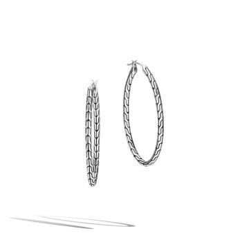 WOMEN's Classic Chain Silver Hoop Earrings (Length 41mm)
