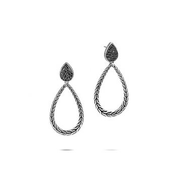 John Hardy WOMEN's Classic Chain Silver Pear Drop Earrings with Black Sapphire and Black Spinel