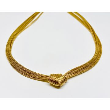 Yellow Polished 14 Karat Mesh 5 Strand Necklace With Knot Estate Jewelry Length 16