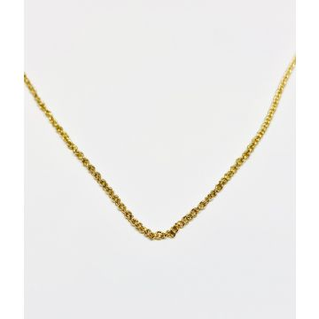 Yellow Polished 14 Karat Rolo Chain Estate Jewelry Length 16
