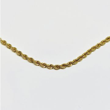 Yellow Polished 14 Karat 2.4 Mm Rope Chain Estate Jewelry Length 16
