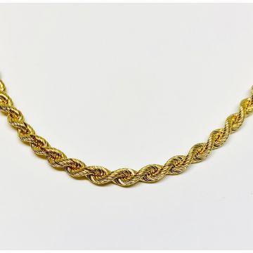 Yellow Polished 14 Karat 4.2 Mm Rope Chain Estate Jewelry Length 20