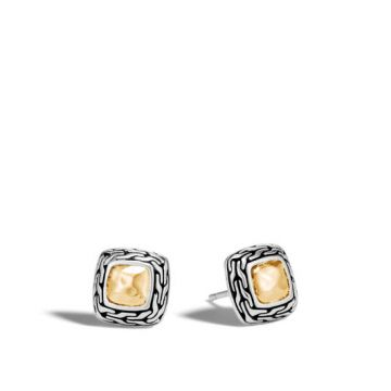 WOMEN's Classic Chain Hammered Gold and Silver Heritage Stud Earrings BG