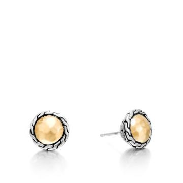 Women's Classic Chain Hammered Gold and Silver Round Stud Earrings BG