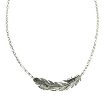 Southern Gates Lady's Sterling Silver Feather Sideways Silver Necklaces