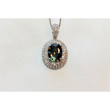Ladies Sri Lankan Bi-Color Blue Green Sapphire and Pave Diamond Halo Pendant Necklace - Very Rare