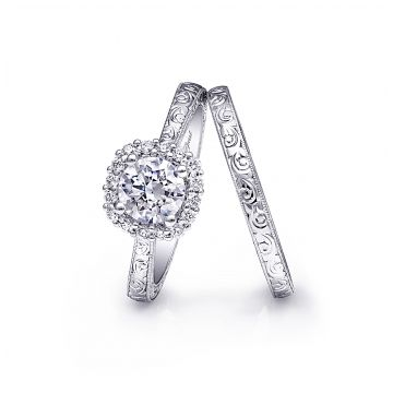 Coast Diamond 14k White Gold Vintage Halo Engagement Ring