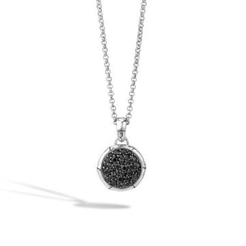 John Hardy Women's Bamboo Silver Lava Small Round Pendant on Chain Necklace with Black Sapphire, Size 16-18 Adjustable