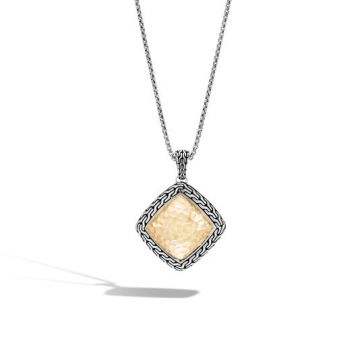 John Hardy Women's Classic Chain Hammered Gold and Silver Heritage Large Quadrangle Pendant- on 2mm Box Chain Necklace, Size 16-18 Adjustable BG