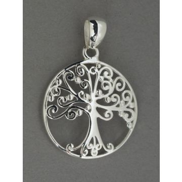 Southern Gates Sterling Silver Large Round Oak Tree Pendant